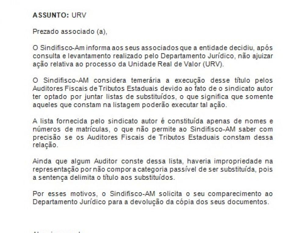 COMUNICADO – URV